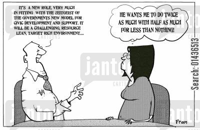 empowerment cartoon humor: 'He wants me to do twice as much with half as much for less than nothing.'