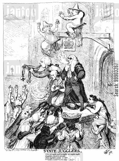charles james fox cartoon humor: Warren Hastings Trial- Pitt, Hastings and Thurlow as 'State-Jugglers'