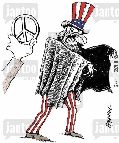 conflict cartoon humor: American Eagle dislikes the sight of a 'Peace' symbol.