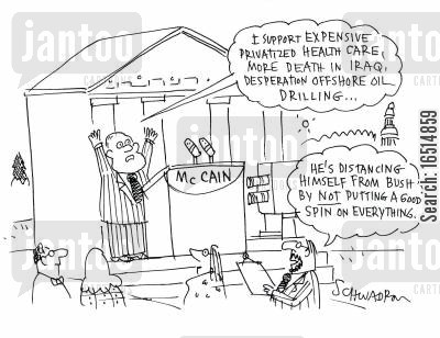offshore oil cartoon humor: 'I support expensive privatized health care, more death in Iraq, desperation offshore oil drilling...'