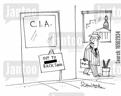 federal bereau of investigation cartoon humor: C.I.A. concealing the location of their lunch appointment.