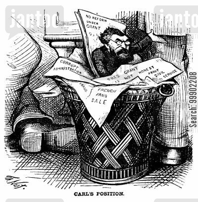 defeat cartoon humor: Carl Shurz's Claims Consigned to the Dustbin after 1872 Election Defeat