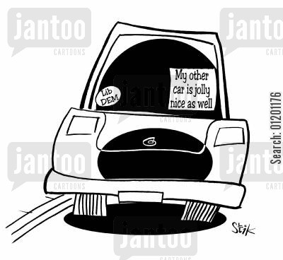 liberal democrats cartoon humor: 'My other car is jolly nice as well'