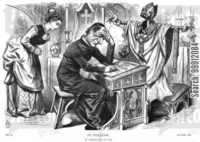 political cartoon humor: Gladstone studying Catholicism