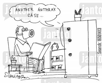 chemical warfare cartoon humor: Another anthrax case...