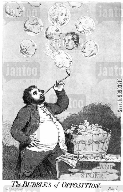 townshend cartoon humor: 'The Bubbles of Opposition'- Charles James Fox 'Floats' his Candidate, Lord John Townshend