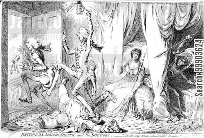 napoleonic wars cartoon humor: Brittania Left Exposed to Napoleon by Squabbling Pitt, Addington and Fox