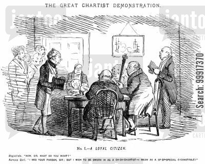 suffrage cartoon humor: The great Chartist demonstration. No. I. - A loyal citizen.