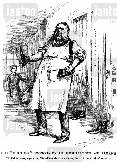 chester arthur cartoon humor: Vice-President Arthur Shining the Shoes of Rebel Republicans, Conking and Platt