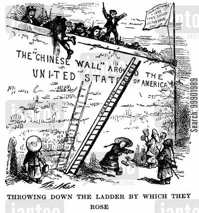 exclusion act cartoon humor: Hypocricy of advocates of the 'Chinese Wall' around the US