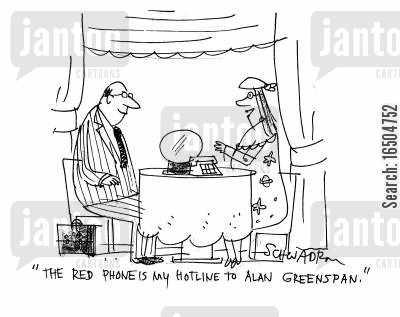psychic powers cartoon humor: 'The red pphone is my hotline to Alan Greenspan.'
