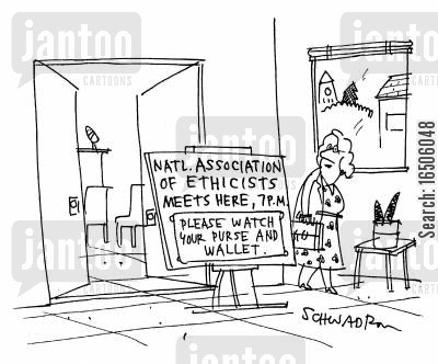 contradictions cartoon humor: 'National Association of Ethicists meets here, 7 P.M.: Please watch your purse and wallet.'