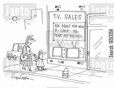 tv shop cartoon humor: Ask about our new p-chip to tune out politics.