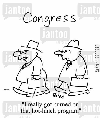 hot lunch cartoon humor: I really got burned on that hot-lunch program
