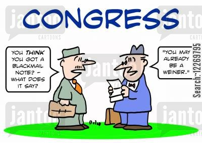sex scandal cartoon humor: CONGRESS, 'You THINK you got a blackmail note? - what does it say?', 'You may already be a Weiner.'
