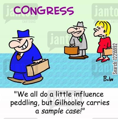 peddling cartoon humor: CONGRESS, 'We all do a little influence peddling, but Gilhooley carries a sample case!'