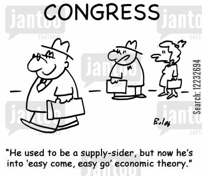 easy come easy go cartoon humor: 'He used to be a supply-sider, but now he's into 'easy come, easy go' economic theory.'