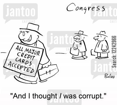 accepted cartoon humor: 'And I thought I was corrupt.'