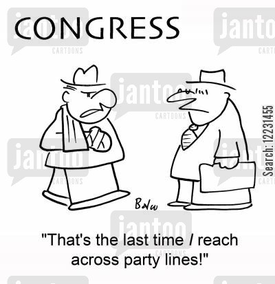sling cartoon humor: 'That's the last time I reach across party lines!'