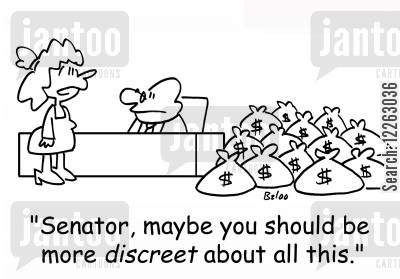 american politicians cartoon humor: 'Senator, maybe you should be more DISCREET about all this.'
