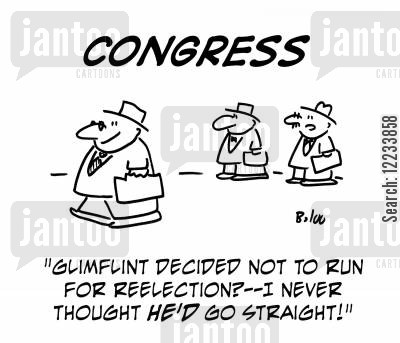going straight cartoon humor: 'Glimflint decided not to run for reelection? -- I never thought he'd go straight!'