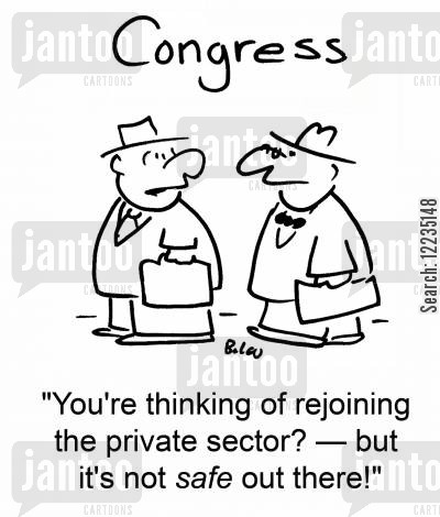 private sectors cartoon humor: 'You're thinking of rejoining the private sector? -- but it's not safe out there!'