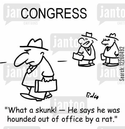 hounded cartoon humor: 'What a skunk! -- He says he was hounded out of office by a rat.'