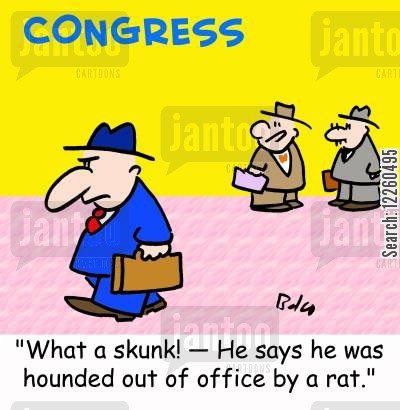 out of office cartoon humor: 'What a skunk! -- He says he was hounded out of office by a rat.'