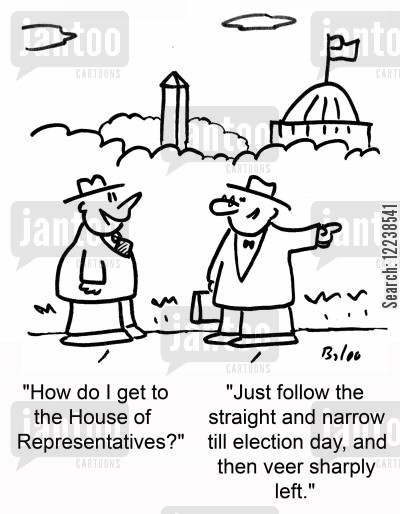 election day cartoon humor: 'How do I get to the House of Representatives?' 'Just follow the straight and narrow till election day, and then veer sharply left.'