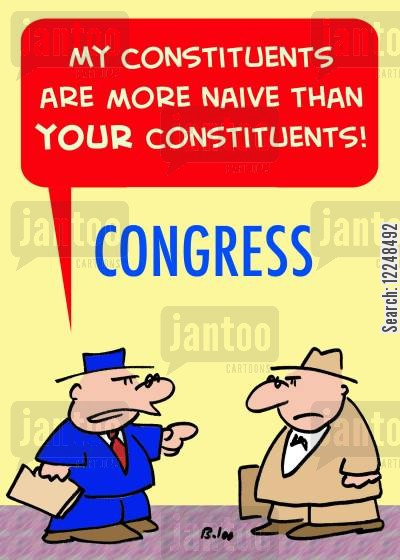 constituents cartoon humor: 'My constituents are more naive than your constituents!'