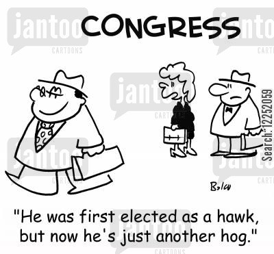 hawks cartoon humor: 'He was first elected as a hawk, but now he's just another hog.'