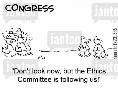 politicians cartoon humor: CONGRESS, 'Don't look now, but the Ethics Committee is following us!'