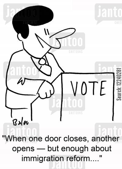 reform bill cartoon humor: 'When one door closes, another opens -- but enough about immigration reform....'