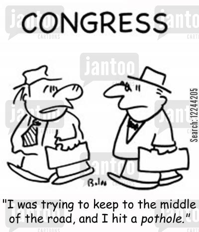 middle of the road cartoon humor: 'I was trying to keep to the middle of the road, and I hit a pothole!'
