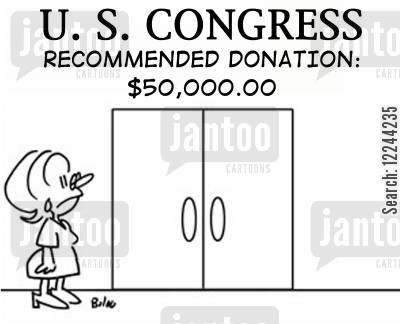 onations cartoon humor: US Congress, recommended donation: $50,000.00.