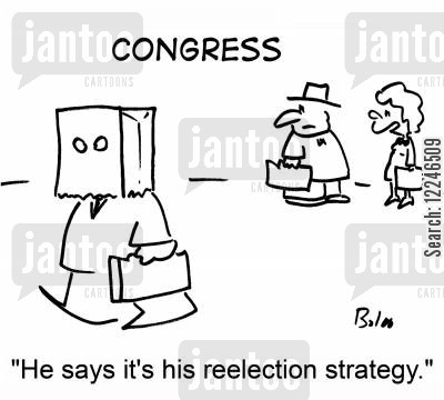 election strategy cartoon humor: 'He says it's his reelection strategy.'