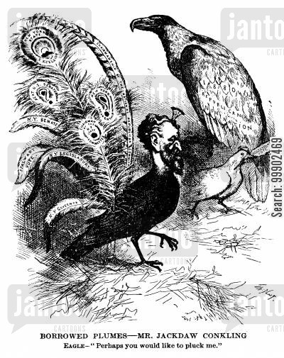 new york governor cartoon humor: Roscoe Conkling as the Jackdaw of 'Borrowed Plumes'