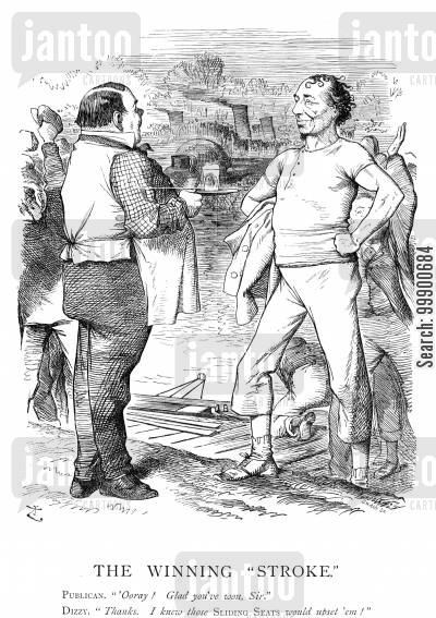 sliding seats cartoon humor: Disraeli's Victory of 1874 Aided by Publicans