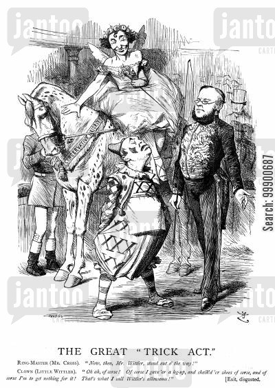 1874 licensing act cartoon humor: Conservatives in Power Disappoint the Licensed Trade