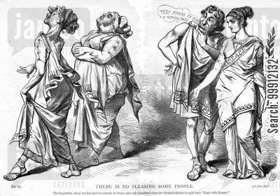 jealousy cartoon humor: The Liberal Party jealous of Disraeli's 'Peace with Honuor' in the Balkans