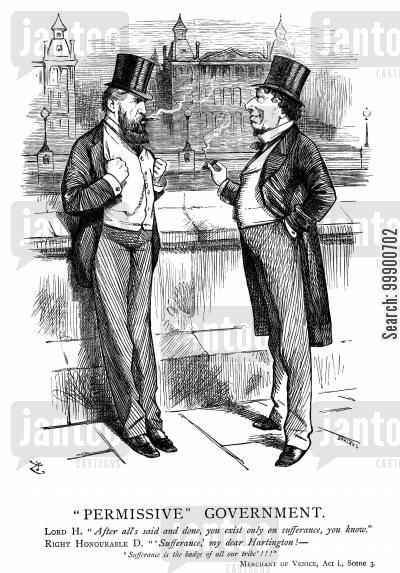 shylock cartoon humor: Disraeli's Ministry existing on Sufferance