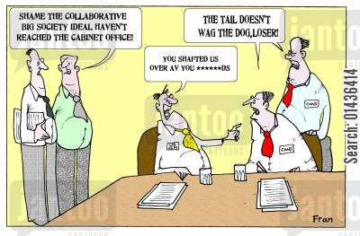 cabinet cartoon humor: 'Shame the collaborative big Society ideal haven't reached the cabinet office.'
