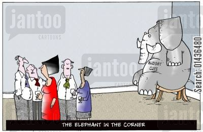 government spending cartoon humor: The Elephant in the Corner