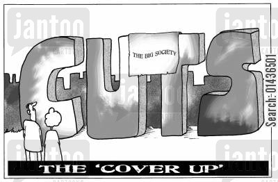 coalition cartoon humor: The Big Society cover up