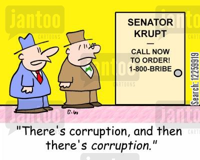 telephone lines cartoon humor: 'There's corruption, and then there's CORRUPTION.'