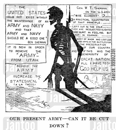 frontier cartoon humor: Retrenchment in the US Army