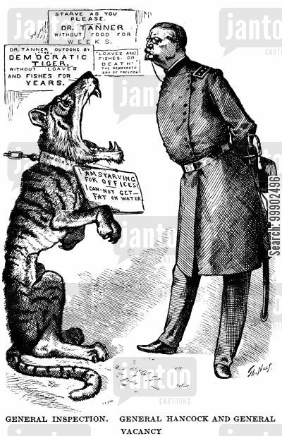 tammany cartoon humor: 1880 Presidential Election - General Hancock and the Democratic Party 'Starving for Offices'