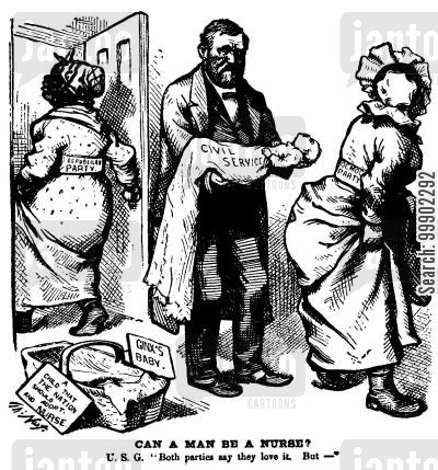 babies cartoon humor: President Grant's Civil Service Reform is not to the Taste of Either Party, despite Professed Enthusiasm