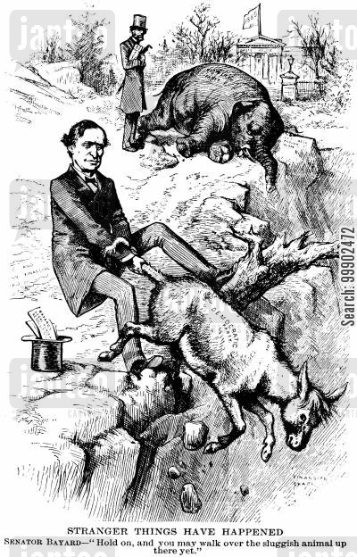 1880 election cartoon humor: 1880 Presidential Elections - Democratic Donkey Pulled back from the Brink