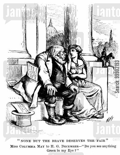 liberal republicans cartoon humor: Horace Greeley attempting to Woo Columbia